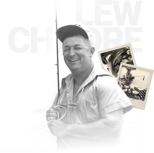 Lew Childre holding early Lew's rod
